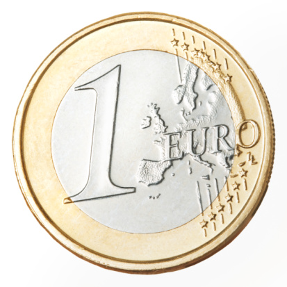 Silver Colored「European currency: one Euro coin, close-up」:スマホ壁紙(4)