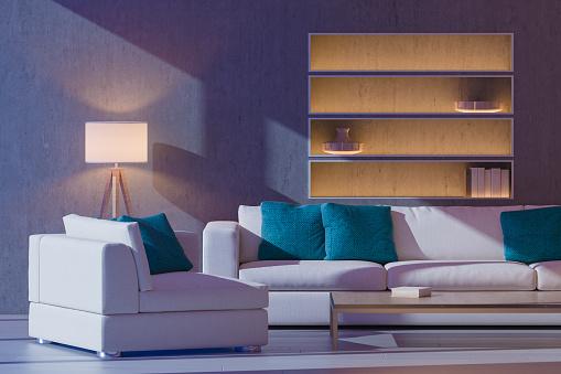 Flat「Moonlit Modern Living Room」:スマホ壁紙(8)