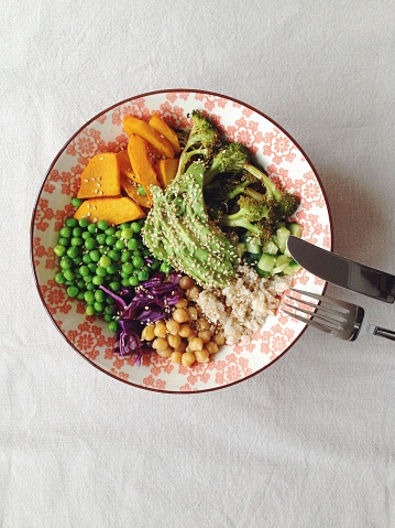 Brown Rice「Colorful salad bowl with vegetables and rice」:スマホ壁紙(7)