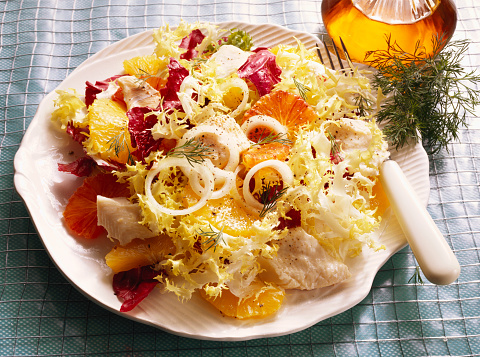Poached Food「Colorful Salad with poached Fish」:スマホ壁紙(12)