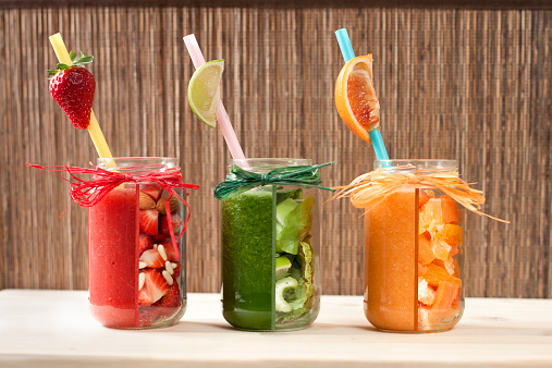 Drinking Straw「Red, green and orange vegetable and fruit smoothies」:スマホ壁紙(8)