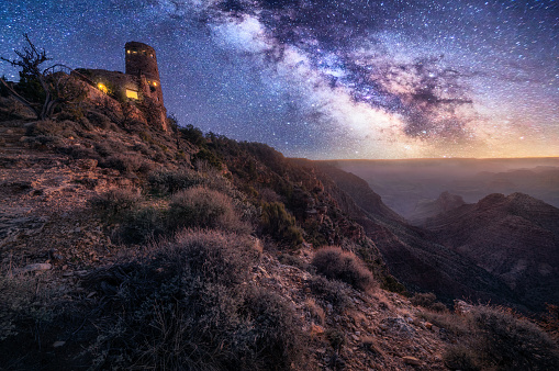 Milky Way「grand canyon desert view watchtower at night with milky way」:スマホ壁紙(8)