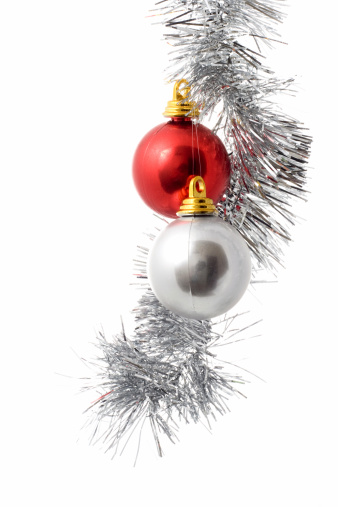 Tinsel「Silver and red ornament hanging from Christmas twine」:スマホ壁紙(2)