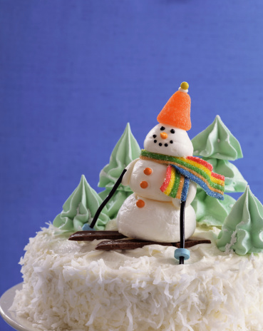 スキー「Cake with snowman decoration」:スマホ壁紙(0)