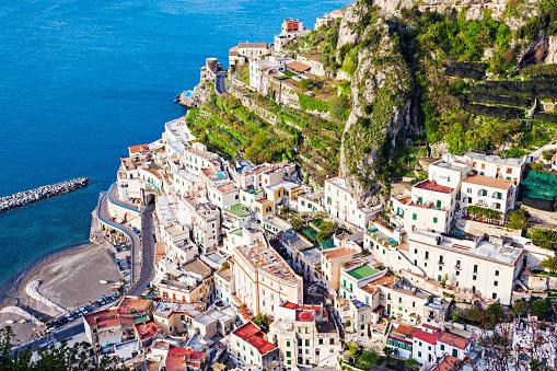 Amalfi Coast「Italy, Campania, Atrani, Aerial view of coastal town」:スマホ壁紙(9)