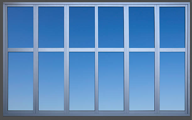 Isolated Metal Framed Paneled Office Window with Clipping Path:スマホ壁紙(壁紙.com)