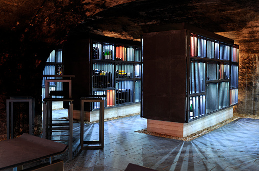 Wine Bottle「Very modern wine cellar with illuminated shelves, security bars」:スマホ壁紙(2)