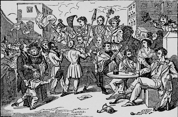 Courtyard「'A Mock Election in the King's Bench Prison', c1828, (1912)」:写真・画像(7)[壁紙.com]