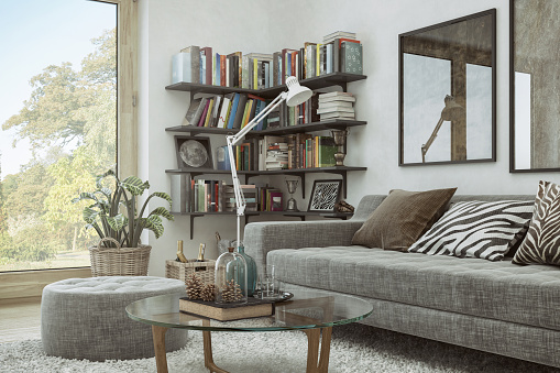 Ranch House「Home Library and decoration in the Living Room」:スマホ壁紙(15)