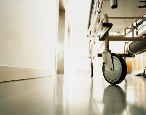 Low Angle View「Low Section of a Trolley in a Hospital Corridor」:スマホ壁紙(12)