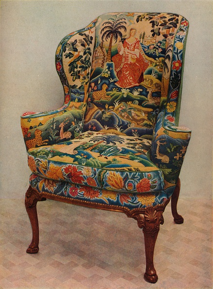 Upholstered Furniture「An upholstered armchair with wings, carved walnut frame and original silk needlework covering, c17 Artist: Unknown」:写真・画像(9)[壁紙.com]