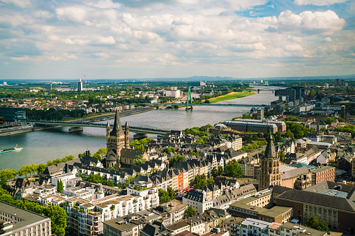 Cologne「Germany, Cologne, view to cityscape with Gross Sankt Martin and city hall from above」:スマホ壁紙(11)