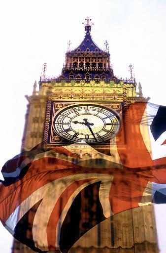 Multiple Exposure「British Flag Superimposed on Big Ben」:スマホ壁紙(2)