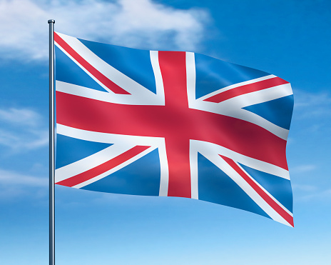 Pole「British flag against cloudy sky」:スマホ壁紙(14)