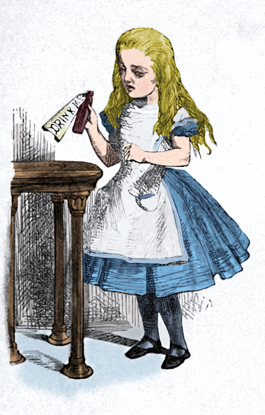 Fairy Tale「Alice Looking At The Bottle With The Sign Drink Me, 1889」:写真・画像(2)[壁紙.com]