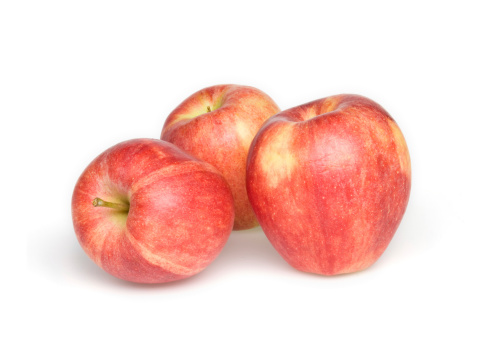 リンゴ「3 つの赤いリンゴ白背景」:スマホ壁紙(7)