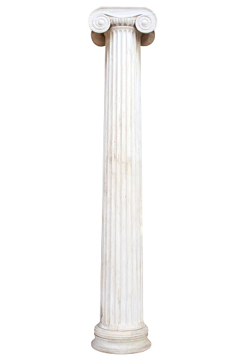 Greek Culture「Old white pillar isolated on white」:スマホ壁紙(12)