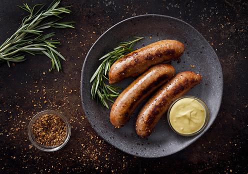 German Food「Sausages with dijon mustard sauce and seasoning」:スマホ壁紙(13)