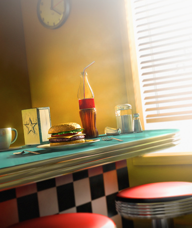 Hamburger「Burger and soda on diner counter」:スマホ壁紙(4)