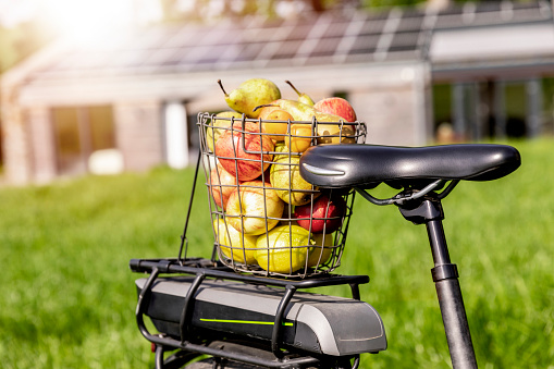 Solar Energy「Wire basket with apples on bicycle rack with house in background」:スマホ壁紙(15)