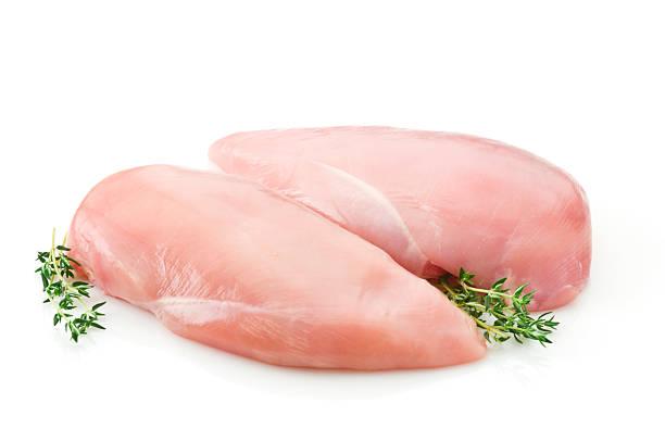 Two raw chicken breast on white backdrop:スマホ壁紙(壁紙.com)