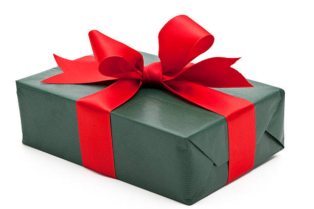 green gift box with red bow:スマホ壁紙(壁紙.com)