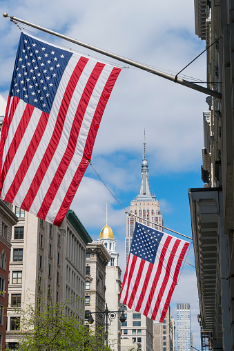 star sky「The American National Flags are hoisted among the Fifth Avenue in New York City. Empire State Building can be seen behind in the clouds.」:スマホ壁紙(10)