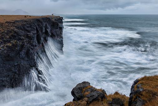 Arnarstapi「Horses on a cliff in Arnarstapi_Iceland」:スマホ壁紙(2)