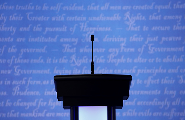 Lectern「Final Presidential Debate Between Hillary Clinton And Donald Trump Held In Las Vegas」:写真・画像(8)[壁紙.com]