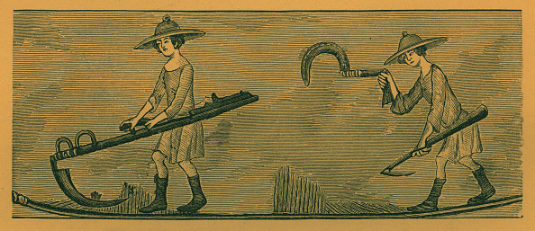 Circa 14th Century「Peasants with scythe and reaping hook」:写真・画像(13)[壁紙.com]