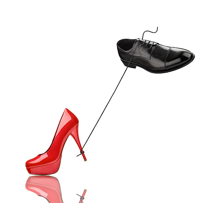 Hovering「Black man's shoe and red high heel in front of white background」:スマホ壁紙(1)
