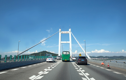 Dividing Line - Road Marking「Humen bridge in Guangdong Province,China」:スマホ壁紙(13)