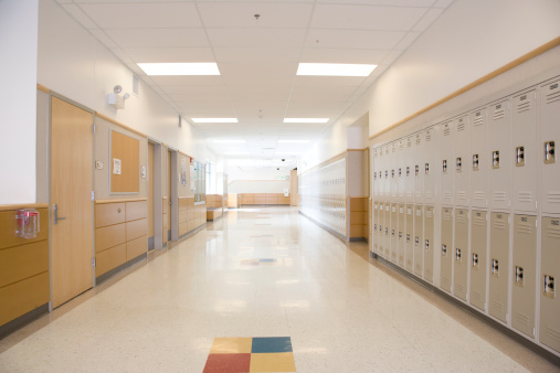 School Building「Lockers in empty high school corridor」:スマホ壁紙(5)