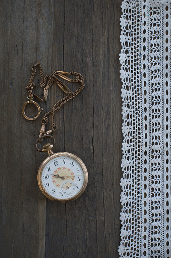 Watch - Timepiece「Old pocket watch and lace on dark wood」:スマホ壁紙(10)
