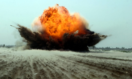 Military「An explosion erupts from the detonation of a weapons cache.」:スマホ壁紙(4)