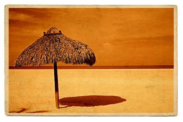 Vintage travel postcard of straw umbrella beach shelter:スマホ壁紙(壁紙.com)