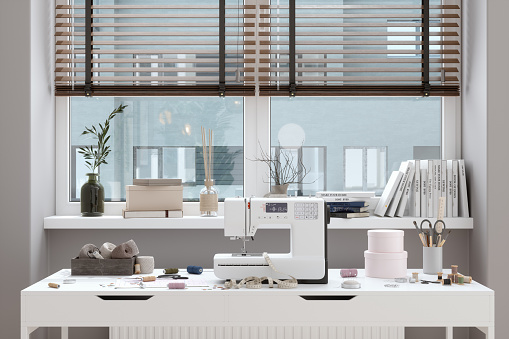 Cloth pattern「Sewing Machine And Other Sewing Equipments On The Table In Front Of Window. Working At Home Concept.」:スマホ壁紙(10)