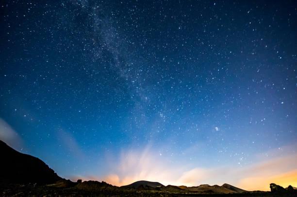 ランサローテ島の夜は天の川を空:スマホ壁紙(壁紙.com)
