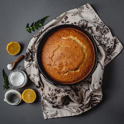 Napkin「Sponge cake, sugar bowl, lemon and floral napkin」:スマホ壁紙(13)