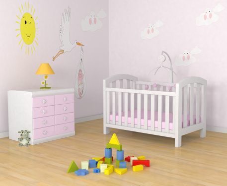 Childhood「Baby's room with decor, crib, toys and a dresser with lamp」:スマホ壁紙(8)