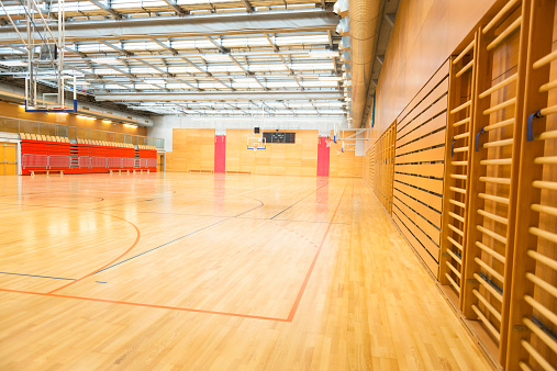 Leisure Activity「Big Empty Sports Hall, Basketball Court, Metal Roof, Europe」:スマホ壁紙(4)