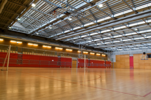 Volleyball「Big Empty Sports Hall Red Metal Roof」:スマホ壁紙(2)