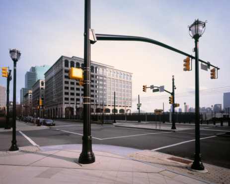 USA「Road Junction with many traffic lights in New York」:スマホ壁紙(7)