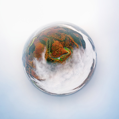 Steep「Little planet aerial panorama of autumn forest road go down into morning fog. Mosele Valley, Germany.」:スマホ壁紙(4)