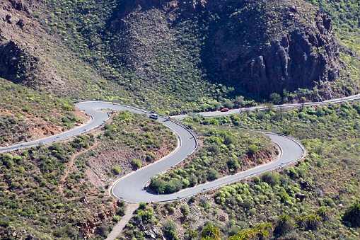 Hairpin Curve「Hairpin Turn on the GC-60 road in the mountains of Fataga, Gran Canaria. Canary Island, Spain.」:スマホ壁紙(19)