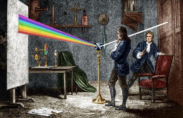 Color Image「Isaac Newton (1642-1727) english mathematician, physicist and astronomer, author of the theory of terrestrial universal attraction, here dispersing light with a glass prism, engraving colorized document」:写真・画像(19)[壁紙.com]