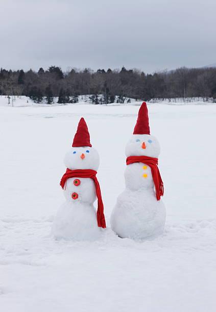 Two snowmen in snowy field:スマホ壁紙(壁紙.com)