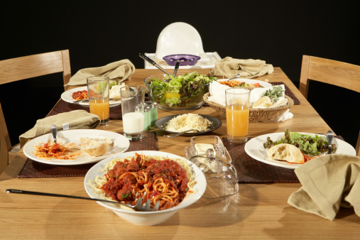 Dining Table「Dining table with plates, pasta, salad and parmesan cheese」:スマホ壁紙(18)