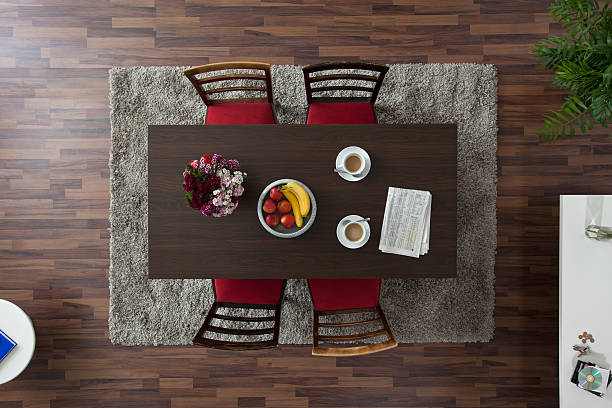 A dining table with coffee cups and newspaper, overhead view:スマホ壁紙(壁紙.com)