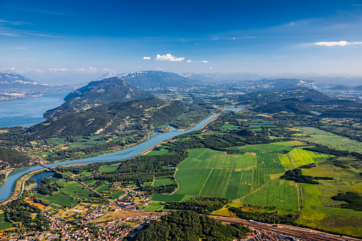 Lake Bourget「Beautiful hilly French landscape aerial view in middle of Bugey mountains in Ain department near Savoie, with Rhone River, vibrant green fields and famous Lake Bourget not far, shot in summer」:スマホ壁紙(19)